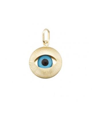 Colgante oro amarillo C.ojo turco galloneado