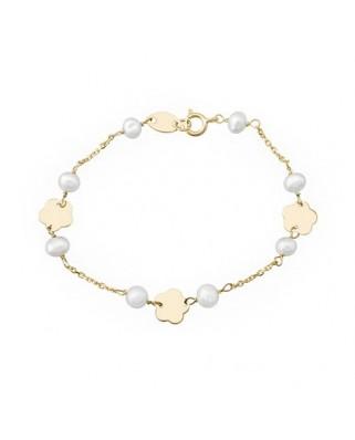 Pulsera primera comunión oro amarillo  flor-cadena perl