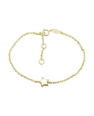 Pulsera oro amarillo  cadena c/ estrella 17 cm