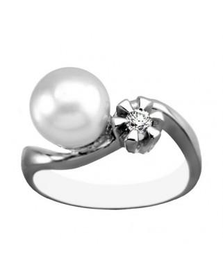 Sortija oro blanco perla austr bte 0,12 c