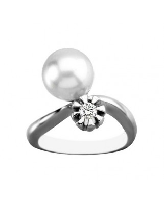 Sortija oro blanco perla aust bte 0,12 ct