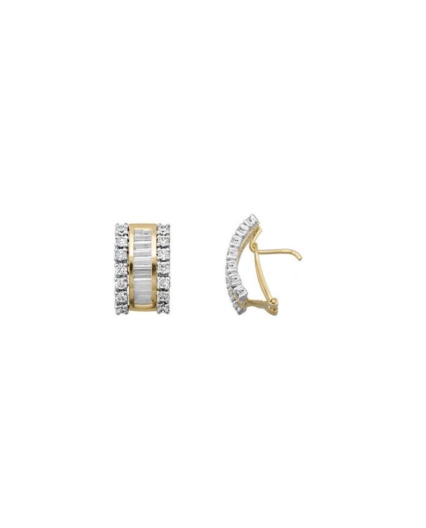 Juego de anillo y pendientes oro bicolor barretas 4 x 1,5 p/omega