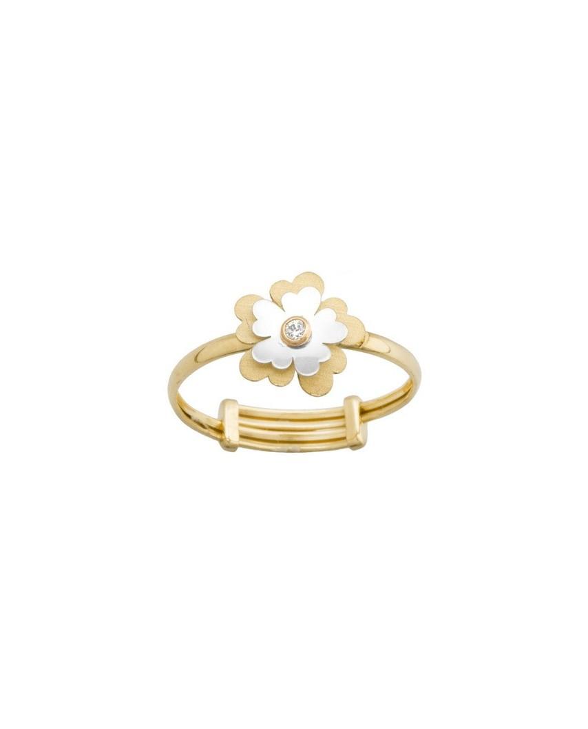 Sortija niña oro bicolor flor centro circon 1,5mm