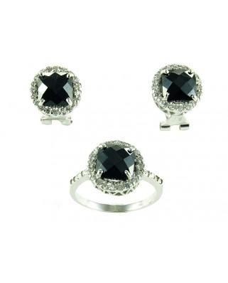 Juego anillo y pendientes de plata piedra azul