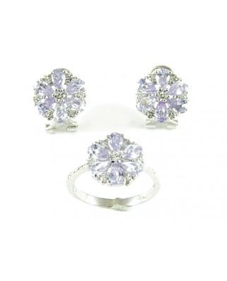 Juego anillo y pendientes de plata piedra lavanda