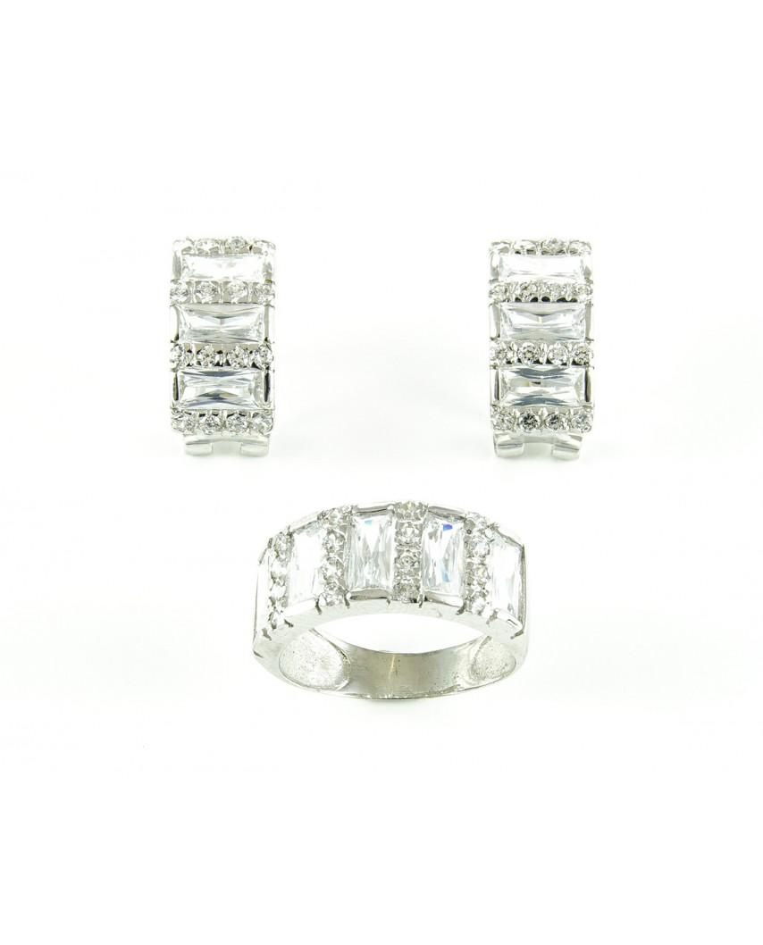 Juego anillo y pendientes de plata circonita sintética