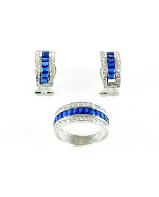 Juego de plata pendientes y sortija piedra azul
