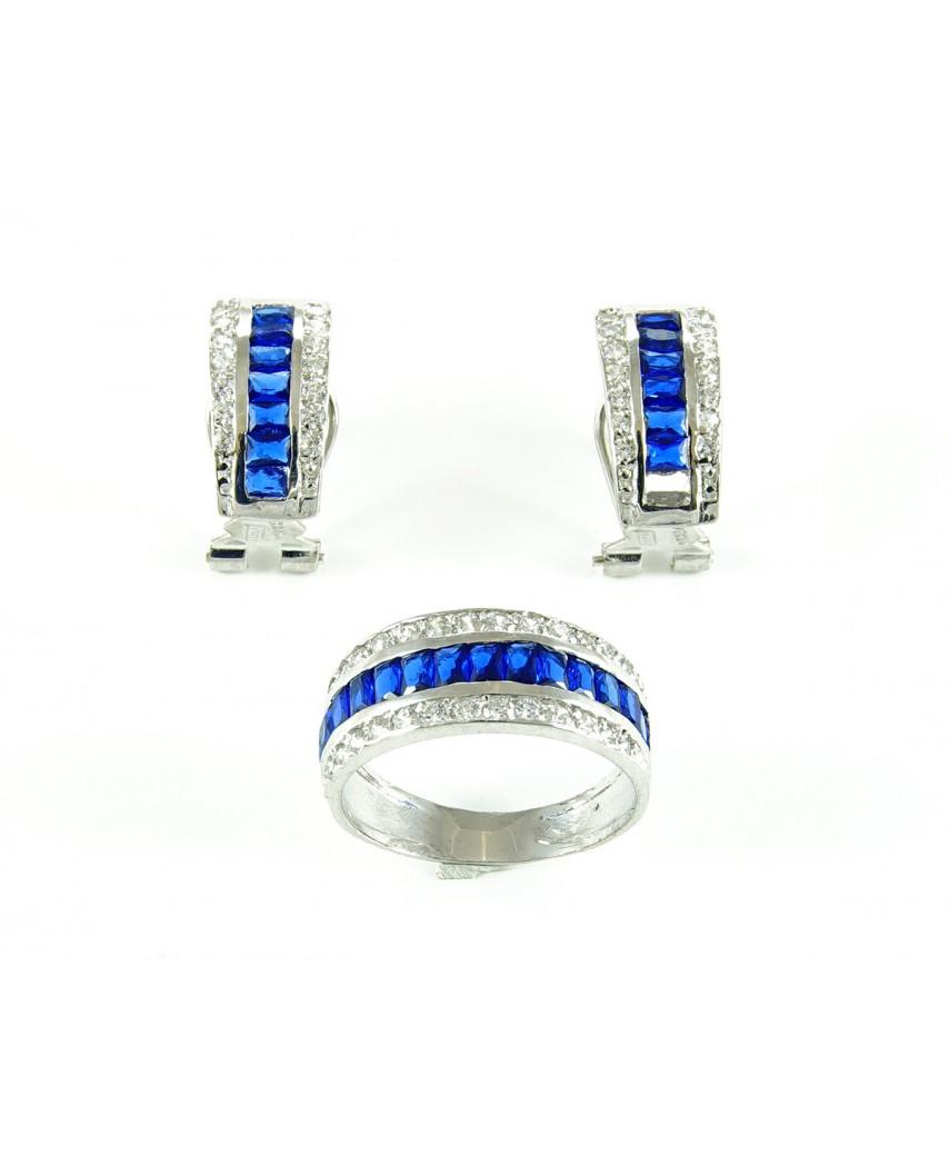 a9247f885b20 Juego anillo y pendientes de plata piedra azul - Daluxan
