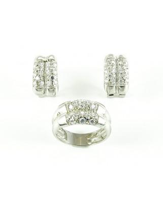 Juego de anillo y pendientes plata piedra blanca