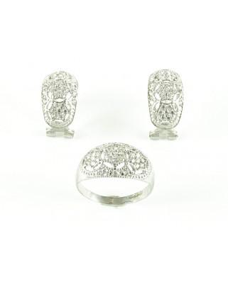 Juego de anillo y pendientes plata de ley