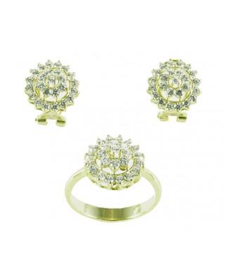 Juego de anillo y pendientes plata bañada en oro