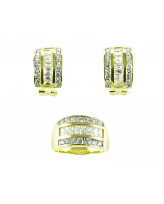 Juego de anillo y pendientes plata de ley bañada en oro