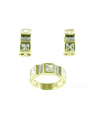 Juego de anillo y pendientes plata bañada en oro piedra blanca