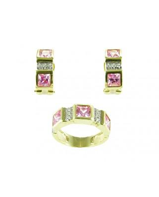 Juego de anillo y pendientes plata bañada en oro piedra rosa