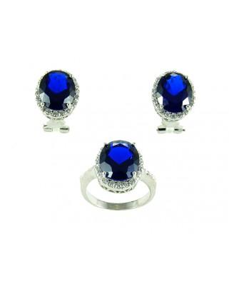 Juego de anillo y pendientes plata piedra azul