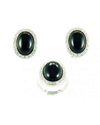 Juego de anillo y pendientes plata piedra negra