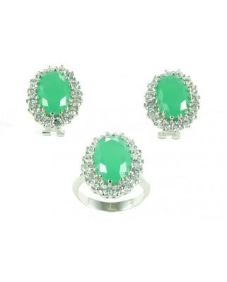 Juego de anillo y pendientes plata piedra verde