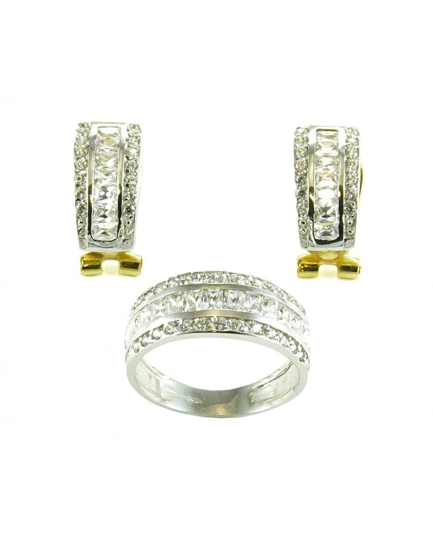 Juego de anillo y pendientes oro blanco circonita