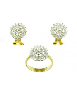 Juego de anillo y pendientes oro amarillo circonita