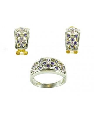 Juego de anillo y pendientes oro blanco