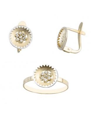 Juego de anillo y pendientes oro bicolor redondo c/circon catalan