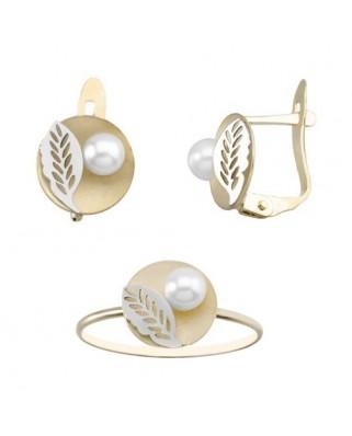 Juego de anillo y pendientes oro bicolor Oferta