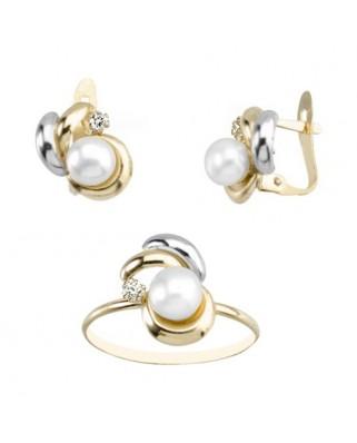 Juego de anillo y pendientes oro bicolor 3 hojas cir 2 m p 5-5,5 cata