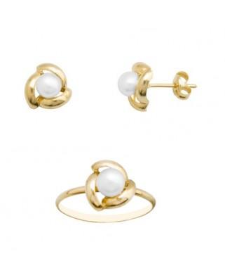 Juego de anillo y pendientes oro amarillo pe 4,5-5 culti presion