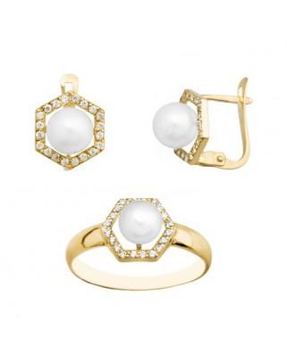 Juego de anillo y pendientes oro amarillo perla 6 cultiv cat