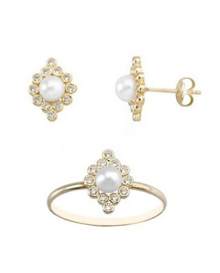 Juego de anillo y pendientes oro amarillo chatones cir perla pre