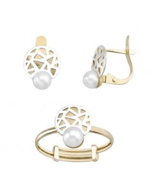 Juego de anillo y pendientes oro bicolor perla cultivada cata