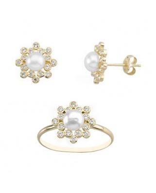 Juego de anillo y pendientes oro amarillo chatones perla cultiva