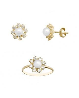 Juego de anillo y pendientes oro amarillo circon perla 4 m cultiv