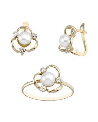 Juego de anillo y pendientes oro amarillo 3 bandas perla cultivada