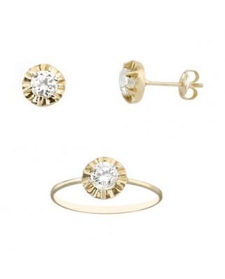 Juego de anillo y pendientes oro amarillo garra circ 4,25 mm presi