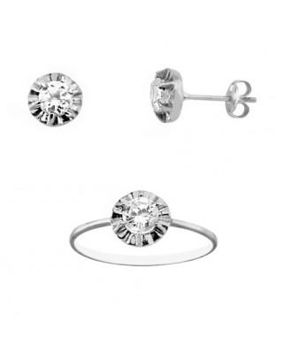 Juego de anillo y pendientes oro blanco garra circon 4,25 mm pre