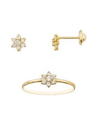 Juego de anillo y pendientes oro amarillo cuajo tuerca