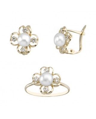 Juego de anillo y pendientes oro amarillo perla flor p/catalan