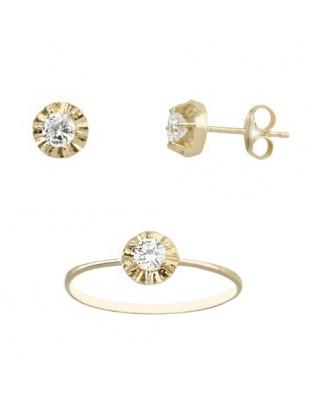 Juego de anillo y pendientes oro amarillo garra circ 3,5 mm presio