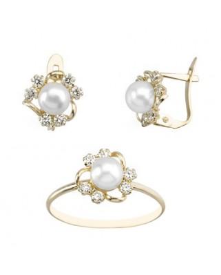 Juego de anillo y pendientes oro amarillo perla tres bandas p/cata