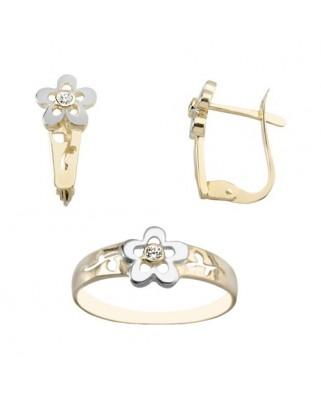 Juego de anillo y pendientes oro bicolor flor c/ circon p/catalan