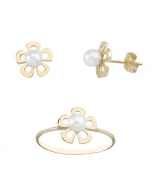Juego de anillo y pendientes oro amarillo flor centro perla presio