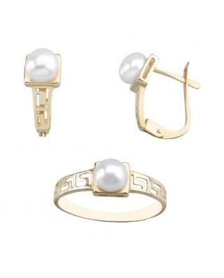 Juego de anillo y pendientes oro amarillo perla cenefa