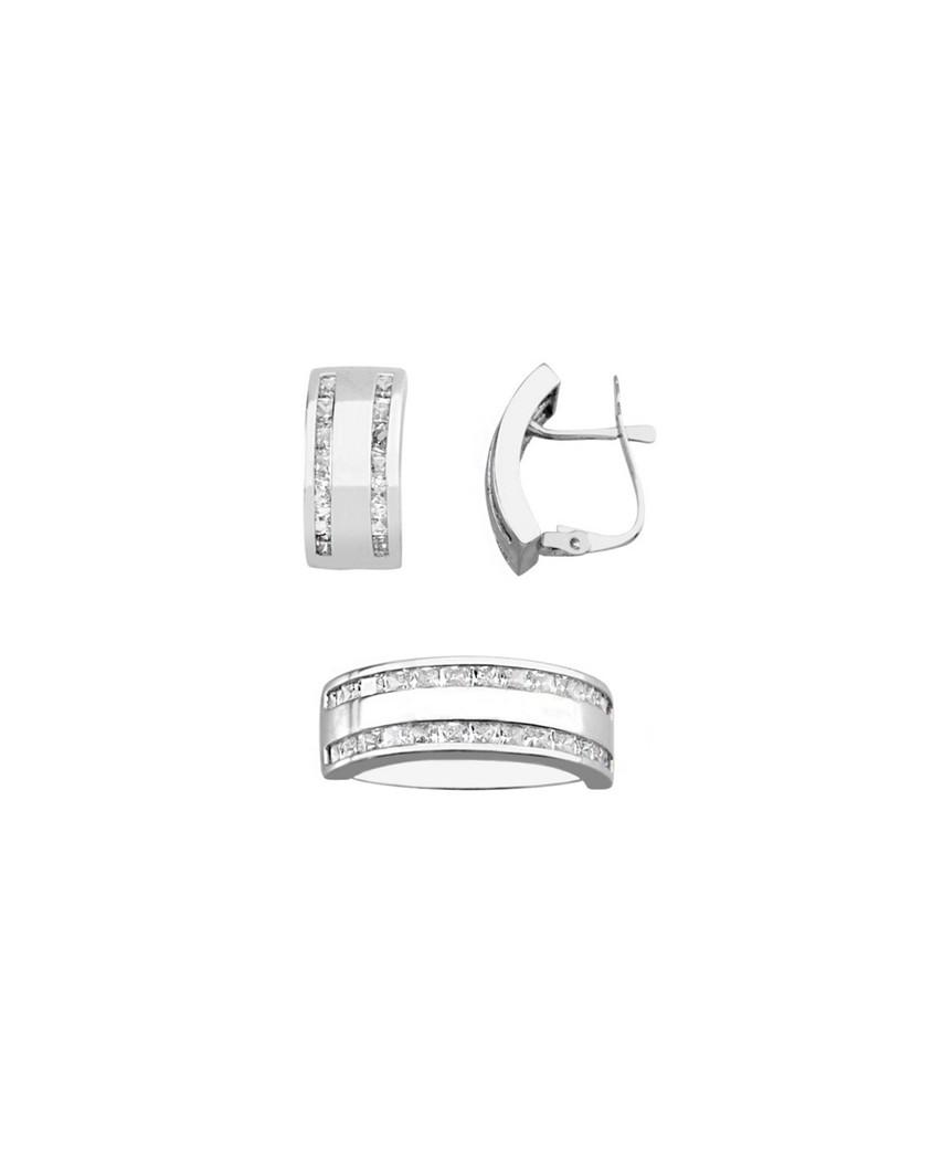 Juego de anillo y pendientes oro blanco circon 2 x 2 catalan