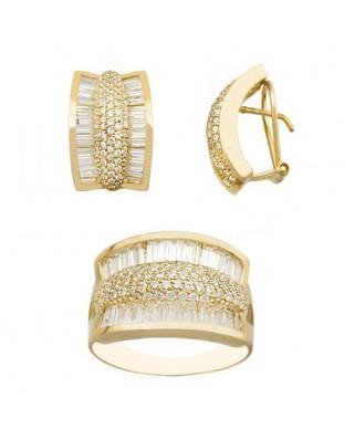 Juego de anillo y pendientes oro amarillo gusanillo circ extr o