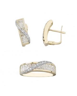 Juego de anillo y pendientes oro bicolor cruzado banda circ