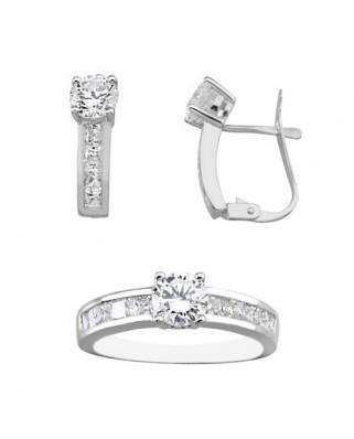 Juego de anillo y pendientes oro blanco carril c/carril catal