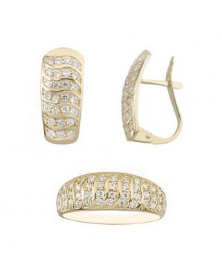 Juego de anillo y pendientes oro amarillo plano circon catalan
