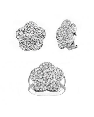 Juego de anillo y pendientes oro blanco flor piedras omega