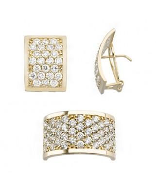 Juego de anillo y pendientes oro amarillo anchos piedras omega